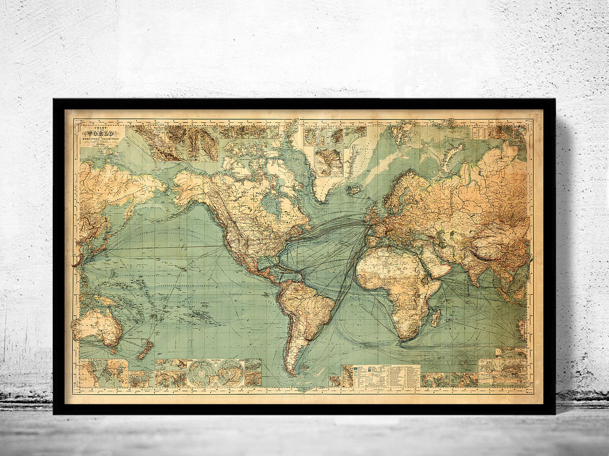 Vintage World Map in 1882 - product images  of