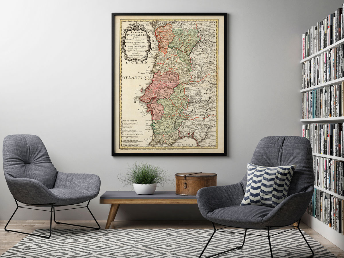 Old Map of Portugal 1736 Mapa de Portugal Portuguese map - product images  of