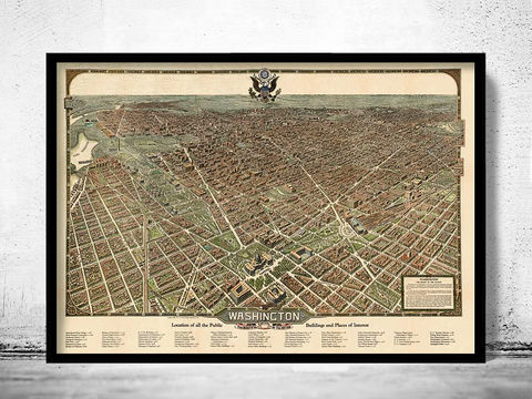 Old,Map,of,Washington,DC,1923,Vintage,washington DC, washington, washington map, panoramic, birdseye view, washington poster, maps for sale, buy map, old maps, old map of washington, washington map print, vintage map of washington