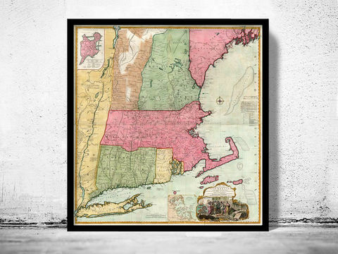 Old,Map,of,Eastern,United,States,New,England,1774,Vintage,united states map, united states poster, united states of america, USA map, map of US, map of United states