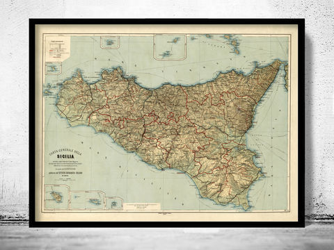 Old,Map,of,Sicily,Italy,1891,Vintage,Art,Reproduction,Open_Edition,city_map,retro,antique,Europe,italy,italia,vintage_map,city_plan,old_map,syracuse, siracusa, syracuse map, syracuse poster, syracuse sicily, sicilia