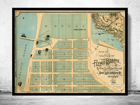 Old,Map,of,Pismo,Beach,San,Luis,Obispo,1887,map of Pismo Beach, old map of Pismo Beach california, Pismo Beach map, Art,Reproduction,Open_Edition,United_States,panoramic_view,gravure,urban,birdseye,vintage_map,Pismo Beach,california,old_map,vintage_poster,city_plan,old_gravure, Pismo Beach CA
