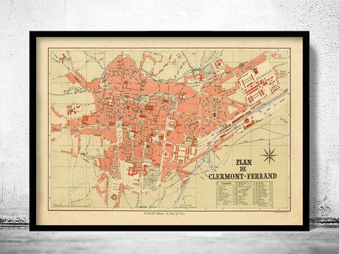 Old,Map,of,Clermont,Ferrand,France,1897,Vintage,clermont ferrand, clermont ferrand map, clermont ferrand poster, clermont ferrand gift, clermont ferrand print