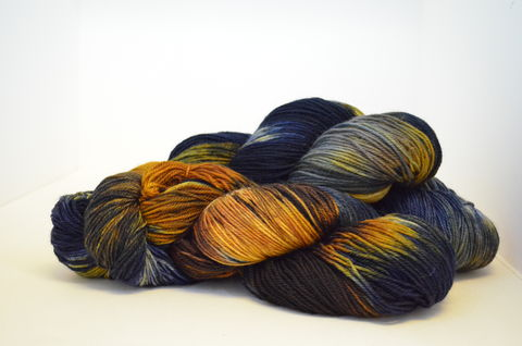 Space-Time,Continuum,~,Dr.,WHO,Inspired,yarn, knitting, knit, super wash, hand dyed yarn, corriedale/nylon, fingerling, Dr. Who
