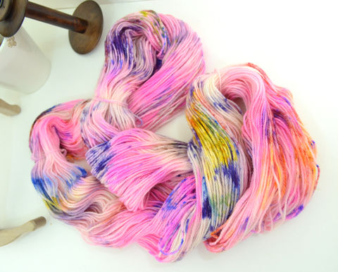 Pink-a-daisical,~,Speckle,Collection,Yarn,yarn, hand dyed, speckle dyed, flourescent, wool