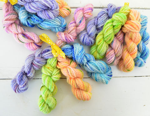 Gum,Drops,Mini,Skein,Pack,mini skeins, minis, yarn minis, sample yarns , sample pack , sample skeins, gumdrops