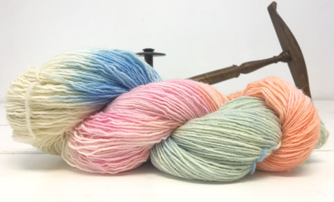 Miami,Beach,Sunrise,yarn, hand dyed, speckle dyed, flourescent, wool
