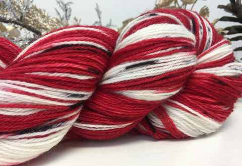 Peppermint,yarn, hand dyed, wool, handdyed, indie dyed, christmas yarn, holiday yarn, peppermint, candy cane, candy canes