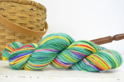 Lucky,Rainbow,yarn, hand dyed, wool, rainbow yarn, Lucky rainbow
