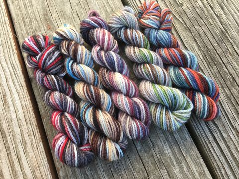 Team,Free,Will,Mini,Coquette,Skein,Pack,Supernatural,Inspired,mini skeins, minis, yarn minis, sample yarns , sample pack , sample skeins, supernatural, yarn, supernatural yarn