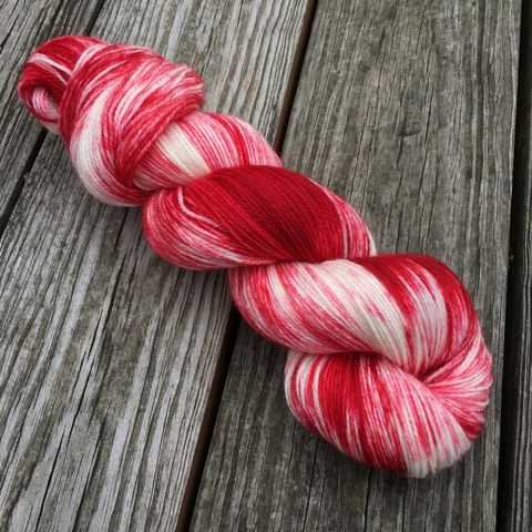Candy,Canes,yarn, hand dyed, wool, christmas yarn
