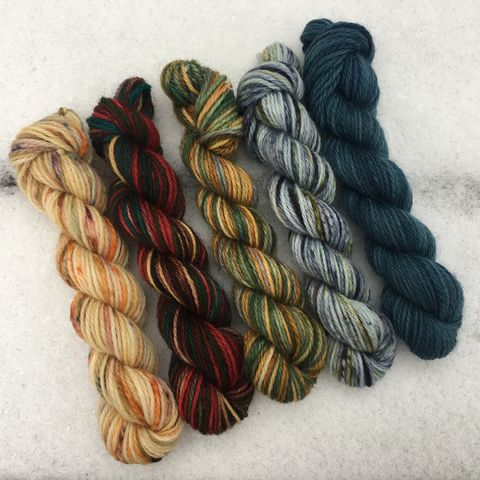 Tolkienish,Mini,Coquette,Skein,Pack,mini skeins, minis, yarn minis, sample yarns , sample pack , sample skeins, Tolkien, middle earth, hobbits