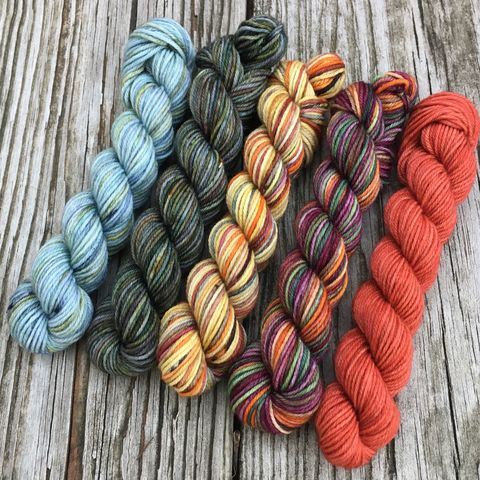 Hobbiton,Harvest,Squishy,Sock,Mini,Skein,Pack,mini skeins, minis, yarn minis, sample yarns , sample pack , sample skeins, tolkien, lord of the rings, lotr, yarn