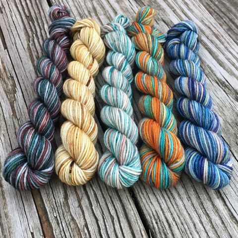 Starks,in,King's,Landing,Squishy,Sock,Mini,Skein,Pack,mini skeins, minis, yarn minis, sample yarns , sample pack , sample skeins, game of thrones, yarn