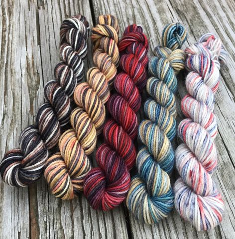 Valar,Morghulis,Squishy,Sock,Mini,Skein,Pack,mini skeins, minis, yarn minis, sample yarns , sample pack , sample skeins, game of thrones, yarn