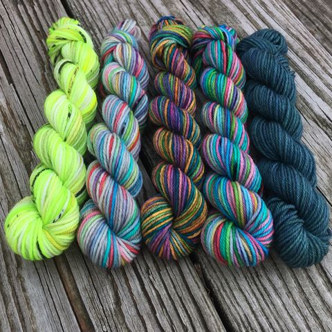 Rainforest,Rainbows,Squishy,Sock,Mini,Skein,Pack,mini skeins, minis, yarn minis, sample yarns , sample pack , sample skeins, rainbow, yarn