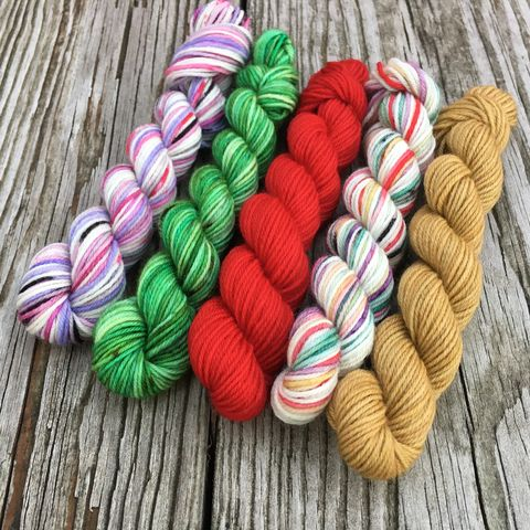 Holiday,Classics,Squishy,Sock,Mini,Skein,Pack,mini skeins, minis, yarn minis, sample yarns , sample pack , sample skeins, rainbow, yarn, christmas yarn, advent