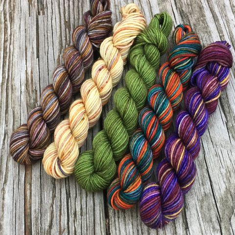 Castle,Leoch,Squishy,Sock,Mini,Skein,Pack,mini skeins, minis, yarn minis, sample yarns , sample pack , sample skeins, yarn, outlander, jamie yarn, fraser yarn, jamie