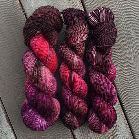 Chocolate,,Wine,,and,Roses,-,Valentine's,Inspired,yarn, Hand dyed, kettle dyed, handdyed, indie yarn, rainbow yarn, sweet yarn, candy yarn, valentines yarn, valentine's day