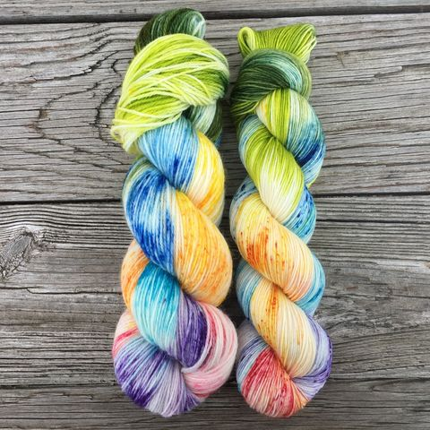 *ONLINE,ONLY*,Four,Leaf,Clover,yarn, Hand dyed, kettle dyed, handdyed, indie yarn, rainbow yarn, sweet yarn, candy yarn, valentines yarn, valentine's day