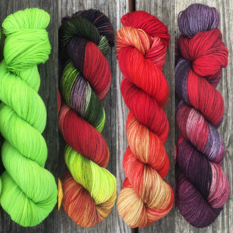 Fiery,Revenge,FADE,KIT,~,Game,of,Thrones,Inspired,Yarn,yarn, Hand dyed, kettle dyed, Game of Thrones, game of thrones yarn, wool, handdyed, fade kit, find your fade, so faded, comfort fade