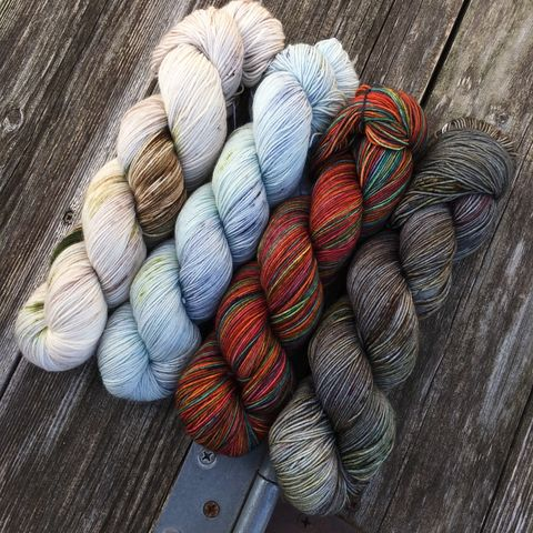 Autumn,Rainbow,on,the,Lake,Kit,yarn, Hand dyed, kettle dyed, wool, handdyed, fade kit, find your fade, so faded, comfort fade