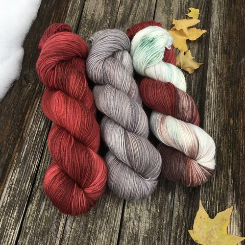 Red,Barn,in,Winter,KIT,yarn, hand dyed, wool, handdyed, indie dyed, christmas yarn, holiday yarn, old barn in winter, winter barn, winter yarnhanddyed, winter yarn