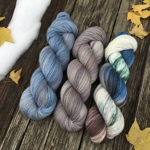 Blue,Barn,in,Winter,KIT,yarn, hand dyed, wool, handdyed, indie dyed, christmas yarn, holiday yarn, old barn in winter, winter barn, winter yarnhanddyed, winter yarn