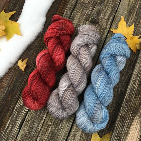 Three,Classic,Barns,KIT,yarn, hand dyed, wool, handdyed, indie dyed, christmas yarn, holiday yarn, old barn in winter, winter barn, winter yarnhanddyed, winter yarn