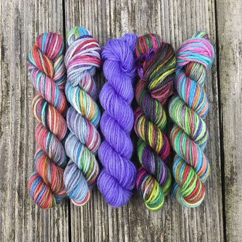 Bouquet,of,Rainbows,Mini,Coquette,Skein,Pack,mini skeins, minis, yarn minis, sample yarns , sample pack , sample skeins, Hogwarts, Hogwarts Christmas, Harry Potter