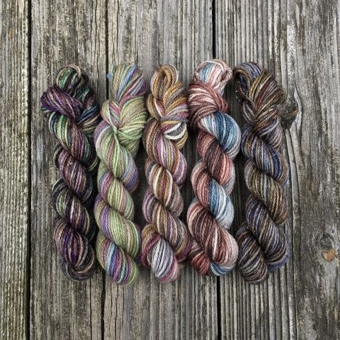 Mysterious,Magic,Mini,Shimmer,Skein,Pack,mini skeins, minis, yarn minis, sample yarns , sample pack , sample skeins, Hogwarts, Hogwarts Christmas, Harry Potter