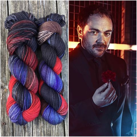 Crowley,-,Supernatural,Inspired,Yarn,supernatural yarn, supernatural, dean, sam, crowley, castiel, knits, winchester
