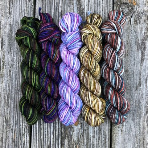 Highland,Romance,Squishy,DK,Mini,Skein,Pack,mini skeins, minis, yarn minis, sample yarns , sample pack , sample skeins, dk minis, dk mini skein, dk yarn, dk sample skeins