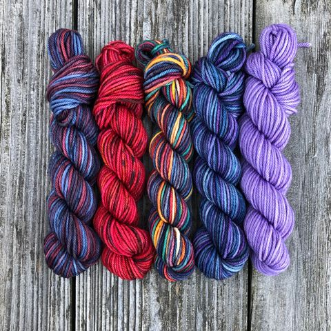 In,Dark,Places,Squishy,DK,Mini,Skein,Pack,mini skeins, minis, yarn minis, sample yarns , sample pack , sample skeins, dk minis, dk mini skein, dk yarn, dk sample skeins