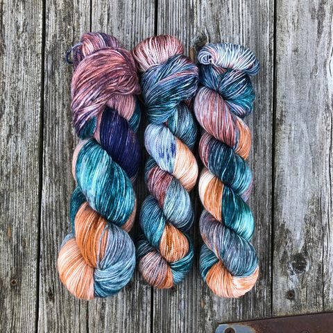 Flourish,and,Blotts,~,Harry,Potter,Inspired,Yarn,yarn, Hand dyed, kettle dyed, Harry Potter, potion yarn, harry potter yarn, hogwarts yarn, luna lovegood, radish earrings , magic yarn
