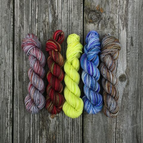 Supernatural,Monsters,Mini,Coquette,Skein,Pack,mini skeins, minis, yarn minis, sample yarns , sample pack , sample skeins, Hogwarts, Hogwarts Christmas, Harry Potter