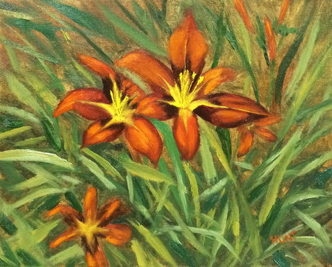 Floral,Lilies,Original,Oil,Painting,on,Canvas,,Fired,Up,orange, red, green, yellow, diane hunt studio, floral, flowers, painting, oil painting, art, alla prima, lillies, day lily