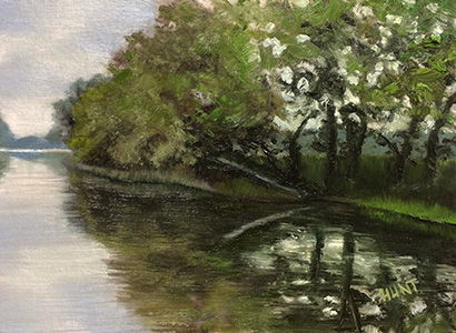 Landscape,Original,Oil,Painting,on,Canvas,,Peaceful,waterscape, green, blue, diane hunt studio, landscape, river, art, painting, oil painting, original, alla prima