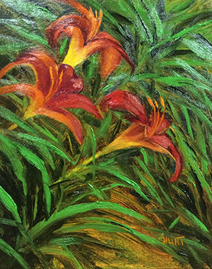 Floral,Lilies,Original,Oil,Painting,on,Canvas,,Red,Hot,lilies, orange, green, red, diane hunt studio, floral, flowers, garden, painting, art, oil painting, alla prima