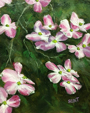 Floral,Pink,Dogwood,Original,Oil,Painting,on,Canvas,,Pretty,In,Pink,dogwood, white, green, pink, diane hunt studio, floral, flowers, alla prima, oil painting, painting, art