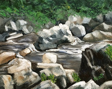 Landscape,Original,Oil,Painting,on,Canvas,,Rocky,River,waterfall, green, white, diane hunt studio, landscape, river, rocks, alla prima, oil painting, painting