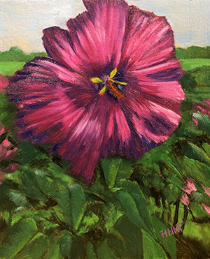 Floral,Hibiscus,Original,Oil,Painting,on,Canvas,,Beacon,hibicus, red, green, pink, diane hunt studio, floral, flowers, garden, painting, art, alla prima