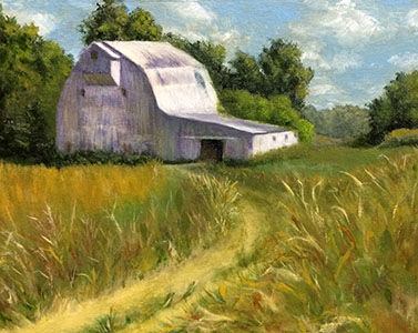 Barn,Landscape,Farmland,Original,Oil,Painting,on,Canvas,,Stoic,farmland, green, gold, white, blue, diane hunt studio, landscape, farm, art, painting, oil painting, original