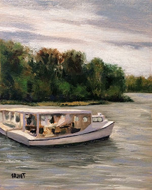 Landscape,River,Original,Oil,Painting,on,Canvas,,Side,by,Side,landscape, green, blue, tan, white, diane hunt studio, , art, painting, waterscape, oil painting, original, plein air, trees, water, boats