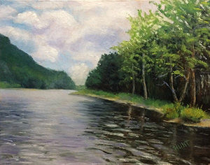 Landscape,River,Original,Oil,Painting,on,Canvas,,River,Run,waterscape, green, blue, diane hunt studio, landscape, river, art, painting, oil painting, original, alla prima