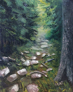 Landscape,Forest,Original,Oil,Painting,on,Canvas,,Pathway,woods, pathway, green, white, diane hunt studio, landscape, rocks, alla prima, oil painting, painting, forest, trees