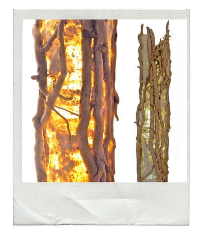 Kenfig,Driftwood,Uplighter,driftwood lamp,floor standing,entwined climber,sculptural,one off,unique,handcrafted,handmade paper,gentle glow,layers and textures.