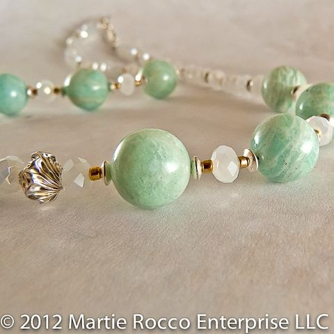 Amazonite,necklace,with,sterling,silver,and,faceted,opal,glass,rondelles,amazonite, sterling silver, opal glass