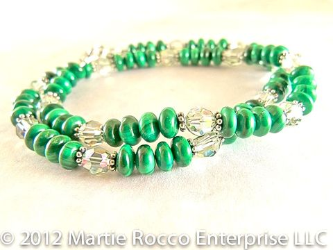 Malachite,Necklace,with,sterling,silver,and,Swarovski,crystals.,N253
