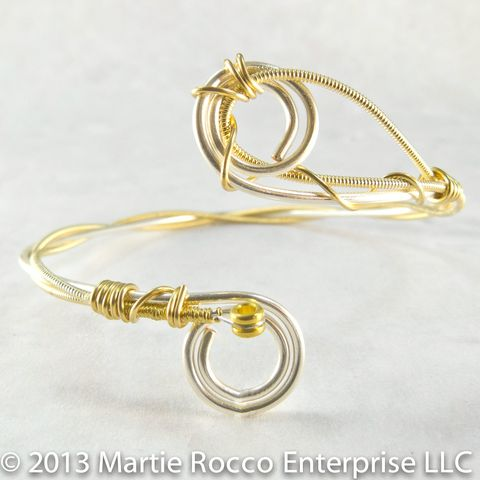 Guitar,string,cuff,bangle,bracelet,with,silver,artistic,wire,and,bronze,strings